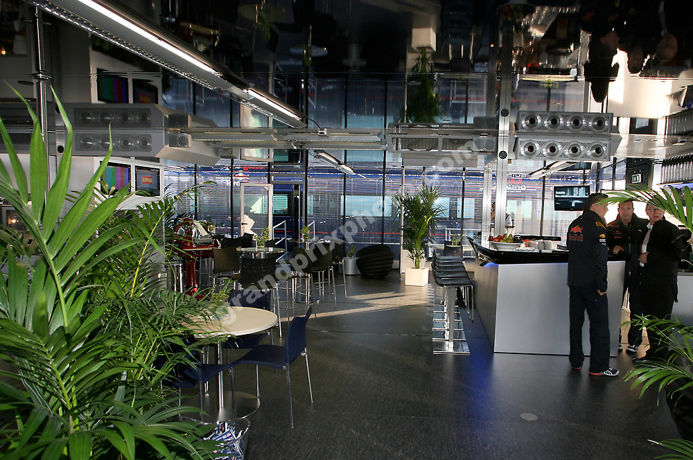 Inside the Red Bull and Toro Rosso motorhome (energy station) at the 2010 Spanish Grand Prix at the Circuit de Catalunya outside Barcelona. Photo: Grand Prix Photo