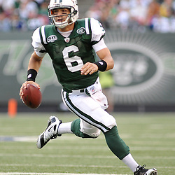 Nov 15, 2009; East Rutherford, NJ, USA; New York Jets quarterback Mark Sanchez (6) scrambles from the pocket during second half NFL action in the Jacksonville Jaguars 24-22 victory over the New York Jets at Giants Stadium.
