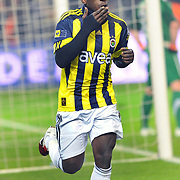 Fenerbahce's Mamadou NIANG celebrate his goal during their Turkish superleague soccer derby match Fenerbahce between Trabzonspor at the Sukru Saracaoglu stadium in Istanbul Turkey on Sunday 30 January 2011. Photo by TURKPIX