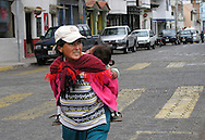 Street scene near the Plaza de Ponchos  Market, Otavalo, Ecuador.