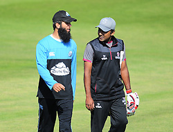 Moeen Ali of Worcestershire and Mahela Jayawardene of Somerset talk before the game.  - Mandatory by-line: Alex Davidson/JMP - 17/08/2016 - CRICKET - Cooper Associates County Ground - Taunton, United Kingdom - Somerset v Worcestershire Rapids - Royal London One Day Cup Quarter Final