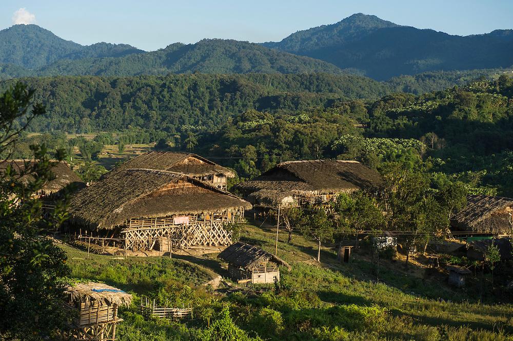 Adi Gallong pole house<br /> Adi Gallong Tribe village<br /> Arunachal Pradesh<br /> North East India