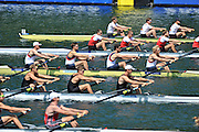 Lucerne, SWITZERLAND.   GBR M4-. Bow, Alex GREGORY, Peter REED, Tom JAMES and Andy  TRIGGS HODGE, moving away from the start at the 2012 FISA World Cup II, Lucerne Regatta.  Rotsee Rowing Course,  Friday  25/05/2012  [Mandatory Credit Peter Spurrier/ Intersport Images]