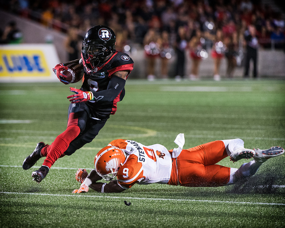 OTTAWA - AUGUST 25: The CFL match between the Ottawa RedBlacks and the BC Lions at TD Place Stadium in Ottawa, ON. Canada on Aug. 25, 2016.<br /> <br /> PHOTO: Steve Kingsman / Freestyle Photography for the Ottawa Redblacks.