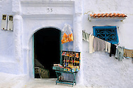 Morocco, Chefchaouen. Tiny shop in one of the streets of the blue town.