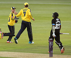 Hampshire's Adam Wheater and Hampshire's Sean Ervine celebrate the wicket of Sussex's Mahela Jayawardene - Photo mandatory by-line: Robbie Stephenson/JMP - Mobile: 07966 386802 - 19/06/2015 - SPORT - Cricket - Southampton - The Ageas Bowl - Hampshire v Sussex - Natwest T20 Blast