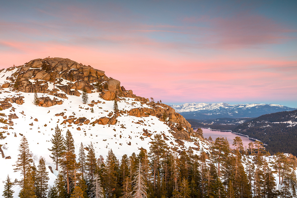 """""""Donner Lake Sunset 51"""" - Sunset photograph of Donner Lake and Truckee, California, looking east."""