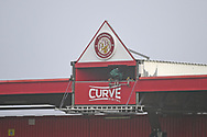 TV gantry during the FA Cup match between Stevenage and Swansea City at the Lamex Stadium, Stevenage, England on 9 January 2021.