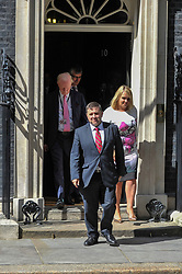 © Licensed to London News Pictures. 15/06/2017. London, UK. Robin Swann, leader of the Ulster Unionist Party, exits Number 10.  Members of the Northern Ireland Assembly visit Downing Street for talks with Prime Minister Theresa May following the results of the General Election.  The Conservatives are seeking to work with the Democratic Unionist Party in order to form a minority government. Photo credit : Stephen Chung/LNP