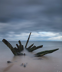 Shipwreck at Longniddry Bents near Edinburgh