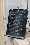 Menu in the town of Beaune in Burgundy, France.
