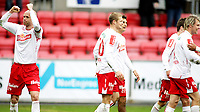 Fotball , <br /> Adeccoligaen , <br /> Fredrikstad Stadion , <br /> 04.04.2010 , <br /> Fredrikstad v Alta , <br /> Jan Tore Ophaug jubler etter at Mattias Andersson har satt inn 3-0 ,<br /> Foto: Thomas Andersen / Digitalsport ,
