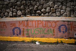 Berta se multiplicó is painted on a wall at the Supreme Justice Court in Tegucigalpa, Honduras