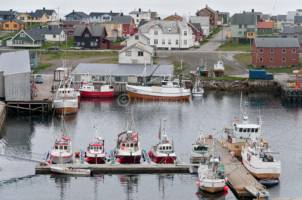 Fishing boats in the harbour in the city of Vardö in Finnmark county, northern Norway.