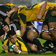 Jonathon Lance, Australia, is tackled by New Zealand's Tyler Bleyendaal, (cenre left) and Charlie Ngatai, (top left) as the Australian pack move in to protect the ball during the Australia V New Zealand Final match at the IRB Junior World Championships in Argentina. New Zealand won the match 62-17 at Estadio El Coloso del Parque, Rosario, Argentina,. 21st June 2010. Photo Tim Clayton...