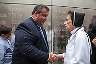 Governor Chris Christie  at the dedication ceremony of the  Empty Sky  9/11 Memorial at Liberty State Park in New Jersey  on September 10, 2011 . <br /> The memorial is two 30-Ft rectangular towers  208 feet by 10 inches long,  the width of the World Trade Center towers and with the names of the 746 New Jerseyans who perished after the terrorist attacks on 9/11, 2001  etched in stainless steel
