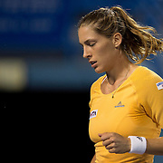 August 16, 2014, New Haven, CT:<br /> Andrea Petkovic reacts during a match against Dominika Cibulkova on day four of the 2014 Connecticut Open at the Yale University Tennis Center in New Haven, Connecticut Monday, August 18, 2014.<br /> (Photo by Billie Weiss/Connecticut Open)