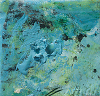 blue brush strokes reliefs on light green background with dark spots