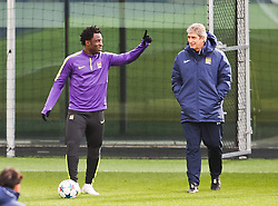 Wilfred Bony & Manuel Pellegrini pictured during the training session at The Etihad Campus ahead of the UEFA Champions League clash with FC Barcelona - Photo mandatory by-line: Matt McNulty/JMP - Mobile: 07966 386802 - 23/02/2015 - SPORT - Football - Manchester - Etihad Stadium