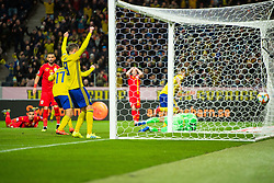 March 23, 2019 - Stockholm, SWEDEN - 190323 Viktor Claesson and Marcus Berg celebrate after Robin Quaison (not pictured) of Sweden scored 1-0 during the UEFA Euro Qualifier football match between Sweden and Romania on March 23, 2019 in Stockholm..Photo: Johanna Lundberg / BILDBYRÃ…N / kod JL / 135968 (Credit Image: © Johanna Lundberg/Bildbyran via ZUMA Press)