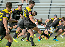 May 26, 2018 - Houston, TX, U.S. - HOUSTON, TX - MAY 26:  Houston SaberCats flyhalf Sam Windsor (10) sends the ball into play during the Major League Rugby match between the Utah Warriors and Houston SaberCats on May 26, 2018 at Dyer Stadium in Houston, Texas.  (Photo by Leslie Plaza Johnson/Icon Sportswire) (Credit Image: © Leslie Plaza Johnson/Icon SMI via ZUMA Press)