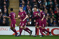 Kevin De Bruyne of Manchester city (17) celebrates with teammates after he scores his teams 1st goal from a free-kick. The Emirates FA Cup, 4th round match, Cardiff city v Manchester City at the Cardiff City Stadium in Cardiff, South Wales on Saturday 28th January 2018.<br /> pic by Andrew Orchard, Andrew Orchard sports photography.
