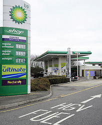 © under license to London News Pictures .Picture dated: 2011.03.06. Prices at a petrol station on the M2 in Kent are the highest anywhere in the country, a campaign group has said. Fair Fuel UK, which was set up by Folkestone haulage boss Peter Carroll, found a litre of petrol at the BP garage on the M2 motorway near Gillingham now costs £1.41.9p They said the price is a record high for the UK. The forecourt was also selling a litre of diesel at £1.45.9p .Picture credit should read Grant Falvey/London News Pictures.