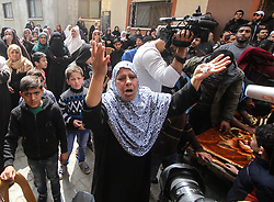 "March 23, 2019 - Gaza, Palestine, 23rd March 2019. A large crowd give their final farewell to 24 years-old Jihad Munir Haraa in the Shujaiya neighbourhood on the east of Gaza City. Jihad had died after being shot in the head with a live bullet by the Israeli forces during the Friday border protest in the central Gaza Strip on 22nd March. According to the Gaza Health Ministry at least 62 other Palestinians were shot and injured, while dozens of demonstrators had suffered from tear-gas inhalation on last Friday's Great March of Return rally as Israeli forces tried to suppress the protesters along the eastern borders of the besieged Gaza Strip. The Israeli military stated that troops had responded with ""riot dispersal means"" and fired in accordance to standard operating procedures.  At least 257 Palestinians have been killed by Israeli fire in Gaza since weekly protests began on March 30th 2018 (Credit Image: © Ahmad Hasaballah/IMAGESLIVE via ZUMA Wire)"