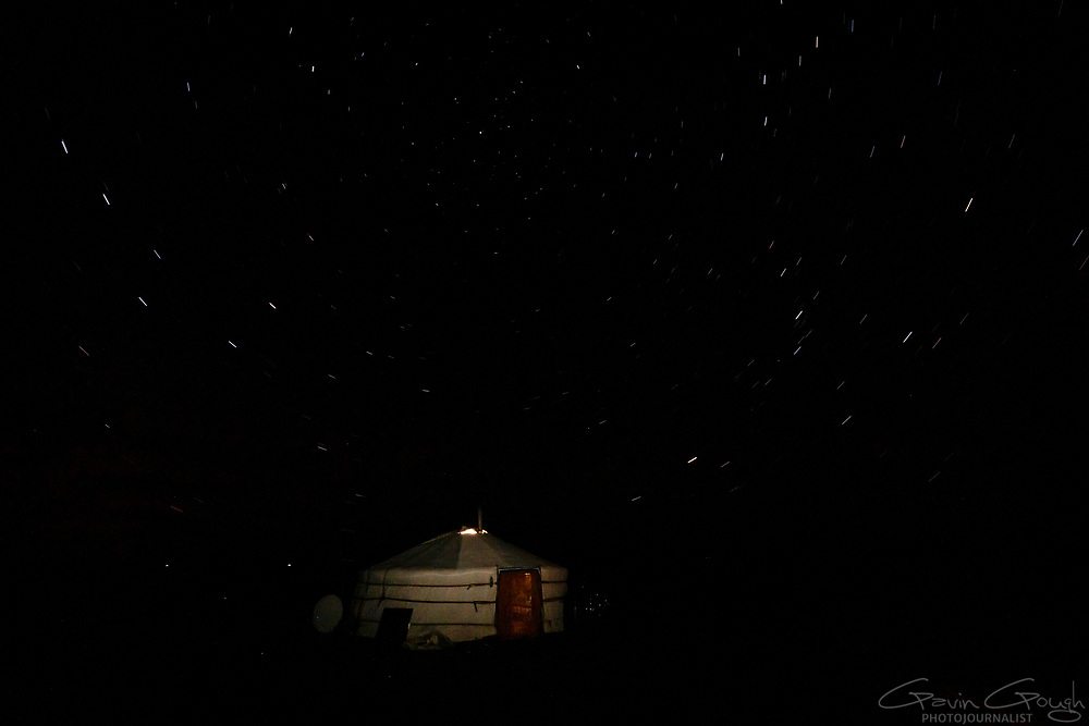 With no light pollution, the remote ger offers a great view of the stars.