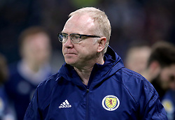 Scotland's manager Alex McLeish after the final whistle during the UEFA Euro 2020 Qualifying, Group I match at the Astana Arena.