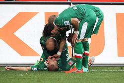 01.03.2014, SGL Arena, Augsburg, GER, 1. FBL, FC Augsburg vs Hannover 96, 23. Runde, im Bild l-r: Torjubel von Ragnar Klavan #5 (FC Augsburg), Andre Hahn #28 (FC Augsburg), Kevin Vogt #6 (FC Augsburg), Halil Altintop #7 (FC Augsburg) // during the German Bundesliga XXth round match between FC Augsburg and Hannover 96 at the SGL Arena in Augsburg, Germany on 2014/03/01. EXPA Pictures © 2014, PhotoCredit: EXPA/ Eibner-Pressefoto/ Kolbert<br /> <br /> *****ATTENTION - OUT of GER*****