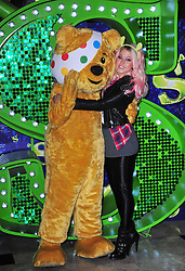 X Factor finalist Amelia Lily joins Pudsey Bear at Shrek The Musical at Theatre Royal Drury Lane, London, to celebrate her collaboration in this year's BBC Children in Need POP Goes the Musical. From Wednesday 14th November, Amelia will take to the stage to perform a unique collaboration with cast members from the award-winning Shrek The Musical. Theatre Royal Drury Lane, Catherine Street, London, United Kingdom, October 29, 2012. Photo by Nils Jorgensen / i-Images.