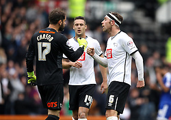 Scott Carson of Derby County, Richard Keogh of Derby County and Jason Shackell of Derby County come together to celebrate Thomas Ince of Derby County's goal - Mandatory byline: Robbie Stephenson/JMP - 07966 386802 - 03/10/2015 - FOOTBALL - iPro Stadium - Derby, England - Derby County v Brentford - Sky Bet Championship