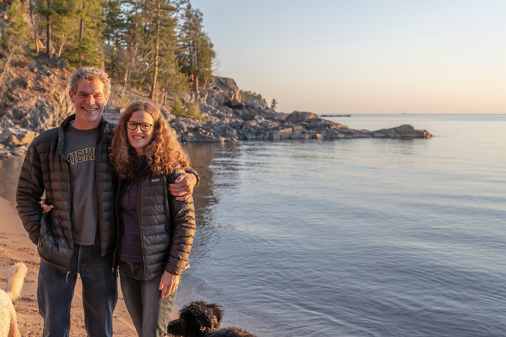 Portrait of Tom Vear and Jen Ray, restaurant owners and developers in Marquette, Michigan.