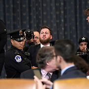 Owen Shroyer of Infowars is removed at the beginning of the House Judiciary Committee hearing to discuss the impeachment inquiry against President Trump with testimony from Democratic and Republican counsel on Monday, December 9, 2019.