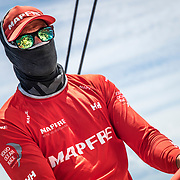Leg 4, Melbourne to Hong Kong, day 05 on board MAPFRE, Blair Tuke fully covered to protect his skin from the sun. Photo by Ugo Fonolla/Volvo Ocean Race. 06 January, 2018.