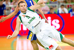 Uros Slokar of Slovenia during friendly basketball match between National teams of Slovenia and Bosnia and Hercegovina for third place at Adecco Ex-Yu Cup 2011 as part of exhibition games before European Championship Lithuania 2011, on August 9, 2011, in Arena Stozice, Ljubljana, Slovenia. Slovenia defeated BiH 59-52. (Photo by Vid Ponikvar / Sportida)