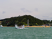 View of the beach at Russell from the water, Bay of Islands, Northland, New Zealand
