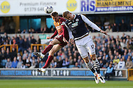 Stephen Darby of Bradford City (l) and Byron Webster of Millwall compete for the ball. Skybet football league one play off semi final 2nd leg match, Millwall v Bradford city at The New Den in London on Friday 20th May 2016.<br /> pic by John Patrick Fletcher, Andrew Orchard sports photography.