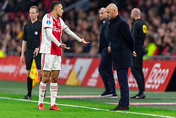 13-03-2019 NED: Ajax - PEC Zwolle, Amsterdam<br /> Ajax has booked an oppressive victory over PEC Zwolle without entertaining the public 2-1 / Noussair Mazraoui #12 of Ajax, Coach Erik ten Hag of Ajax