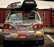 A small Toyota covered with political stickers in Stonington, Maine