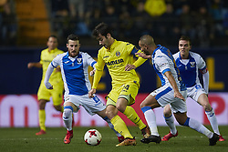 January 10, 2018 - Vila-Real, Castellon, Spain - Manuel Trigueros (C)  of Villarreal CF competes for the ball with Tito (L) and El Zhar of CD Leganes during the Copa del Rey Round of 16, second leg game between Villarreal CF and CD Leganes on January 10, 2018 in Vila-real, Spain  (Credit Image: © David Aliaga/NurPhoto via ZUMA Press)