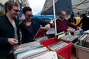 Broadway market. Hackney. Stall selling vinyl records.
