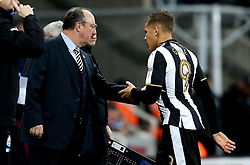 Dwight Gayle of Newcastle United shakes the hand of Newcastle United manager Rafa Benitez after being substituted in the first half of the Sky Bet Championship fixture against Aston Villa - Mandatory by-line: Robbie Stephenson/JMP - 20/02/2017 - FOOTBALL - St James Park - Newcastle upon Tyne, England - Newcastle United v Aston Villa - Sky Bet Championship