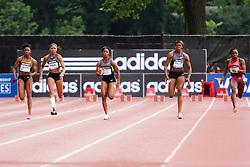 Samsung Diamond League adidas Grand Prix track & field; women's 100 meters, Jeter, Felix, Fraser-Pryce, Okagbare, Knight,