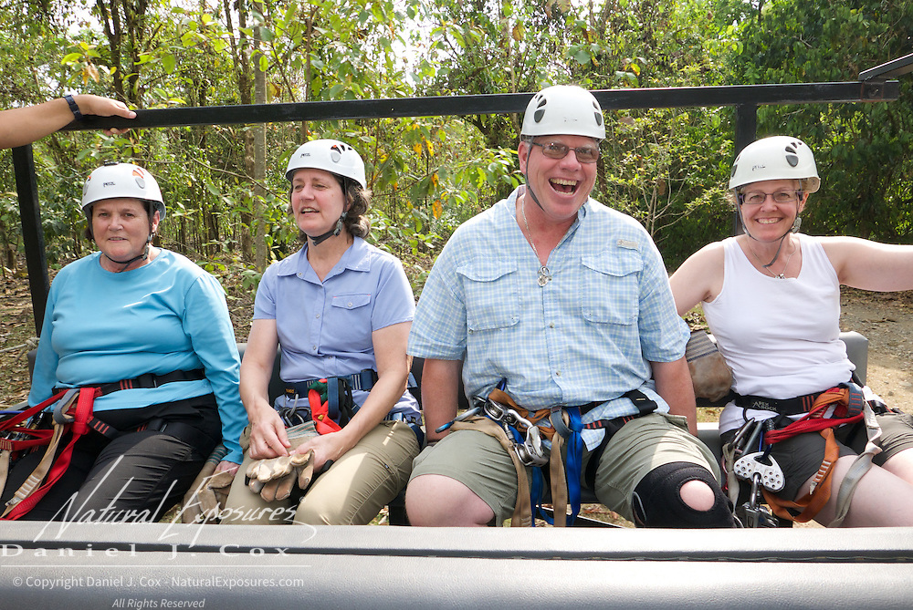 Caro, Tish, Paul and Christine. Heading for our first  zip line platform. Costa Rica.
