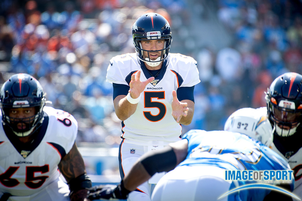 Denver Broncos quarterback Joe Flacco (5) calls the snap  during an NFL football game against the Los Angeles Chargers. The Denver Broncos defeated the Los Angeles Chargers 20-13 on Sunday, Oct. 6, 2019, in Carson, Calif. (Ed Ruvalcaba/Image of Sport)