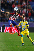 Atletico de Madrid´s Juanfran (L) and Astana´s Kethevoama during Champions League soccer match between Atletico de Madrid and FC Astana at Vicente Calderon stadium in Madrid, Spain. October 21, 2015. (ALTERPHOTOS/Victor Blanco)