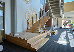Construction to house nursing in the former Garfield Book store, Friday, Aug. 28, 2020, at PLU. (Photo/John Froschauer)