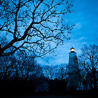 Sandy Hook Lighthouse on a eerie overcast morning just prior to the sun rising to the east.